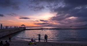 Waikiki Beach at dusk Royalty Free Stock Image