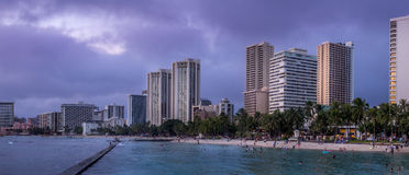 Waikiki Beach at dusk Royalty Free Stock Photography