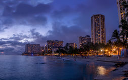 Waikiki Beach at dusk Stock Image