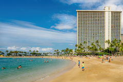 Waikiki Beach and Hilton Hotel Stock Photography