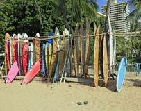 Waikiki Beach Honolulu Hawaii. Shows surfboards for rent Stock Photo