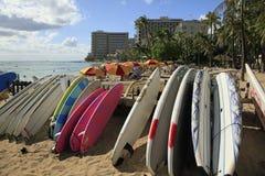 Waikiki Beach Honolulu Hawaii. Waikiki Beach surfboards for rent Stock Photo