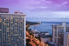 Waikiki beach in Honolulu, Hawaii. This image shows Waikiki beach in Honolulu, Hawaii from a building behind the beach Stock Photos