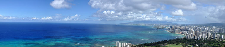 Waikiki Beach, Honolulu, Hawaii. Panorama of Waikiki Beach, Honolulu, Hawaii stock photos