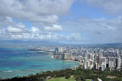 Waikiki Beach, Honolulu, Hawaii. View of Honolulu from Diamond Head, Hawaii royalty free stock photography