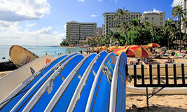 Waikiki Beach Surfboards, Honolulu,  Hawaii Royalty Free Stock Photography