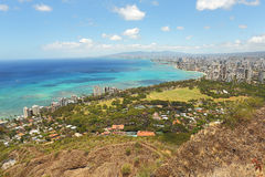 Waikiki Beach and Honolulu, Hawaii with the surrounding hotels a Royalty Free Stock Images