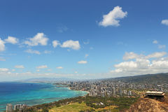 Waikiki Beach and Honolulu, Hawaii with the surrounding hotels a Stock Images
