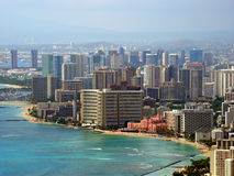 Waikiki Beach - Honolulu, Oahu, Hawaii, USA. Waikiki Beach is basically a two mile stretch of coast fronted by hotels and tourism related facilities and the very Stock Photography