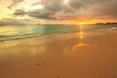 Waikiki beach Honolulu. Twilight at Waikiki beach in Oahu. Waikiki beach is a beautiful place to enjoy the sunset over the ocean. Waikiki in South Shore, is the Royalty Free Stock Photos