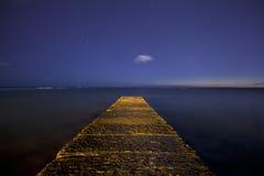 Waikiki Beach Jette with Star Filled Night Sky Stock Photography