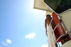 Waikiki Beach Life Guard. Life guard in Beach hut Stock Photo
