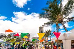 Waikiki beach market in Honolulu, Hawaii Royalty Free Stock Photo