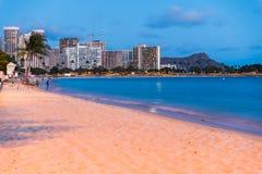 Waikiki beach at night Stock Image