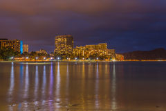 Waikiki beach at night Stock Images