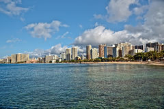 Waikiki Beach, Oahu Island Hawaii, cityscape Royalty Free Stock Photos