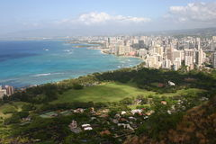 Waikiki Beach. Shot of Waikiki, Hawaii taken from Diamond Head Crater Stock Photography