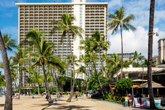 Waikiki Beach and palm trees Royalty Free Stock Photos