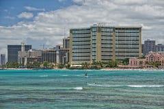 Waikiki beach panorama. Hawaii oahu island Waikiki beach panorama Stock Photos