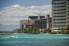 Waikiki beach panorama. Hawaii oahu island Waikiki beach panorama Royalty Free Stock Image