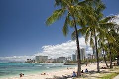 Waikiki beach panorama. Hawaii oahu island Waikiki beach panorama Stock Photo