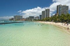 Waikiki beach panorama with pool lagoon. Hawaii oahu island Waikiki beach panorama Royalty Free Stock Image