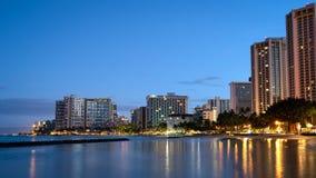 Waikiki Beach skyline at sunrise stock photo