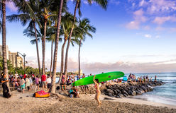 Waikiki beach at sunset Royalty Free Stock Image