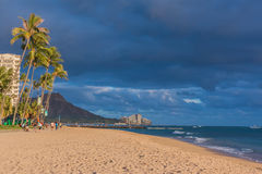 Waikiki beach at sunset Royalty Free Stock Photos