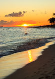 Waikiki Beach Sunset, Oahu Hawaii Royalty Free Stock Photo
