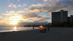 Waikiki beach sunset stock video