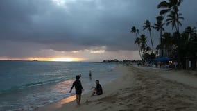 Waikiki beach sunset stock video footage
