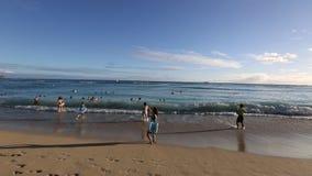 Waikiki beach sunset stock footage