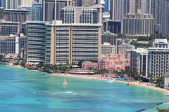 Waikiki Beach and the surrounding area of Honolulu Stock Photo