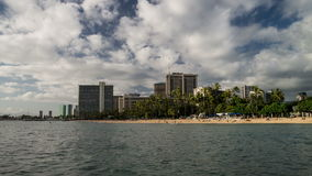 Waikiki Beach Time Lapse Loop. Seamless time lapse loop of beautiful Waikiki Beach in Honolulu, Oahu.  Video shows paddle surfers, swimmers, surfers against a stock video footage