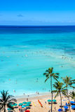 Waikiki Beach with turquoise water Stock Images