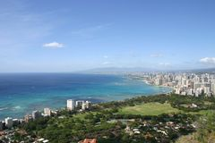 Waikiki beach view from Diamond Head Stock Photos