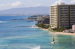 Waikiki Beaches. A view of the Waikiki coastline Royalty Free Stock Image