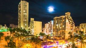 Waikiki blasku księżyca widok z lotu ptaka Zdjęcia Royalty Free