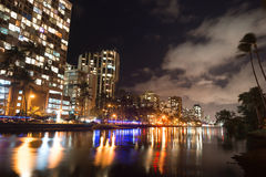Waikiki Buildings Hotels Palms Architecture Kapahulu Avenue Ala Royalty Free Stock Image