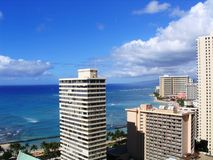 Waikiki City. View of Waikiki city skyline and coastline Royalty Free Stock Image