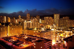 Waikiki city night scene Stock Images