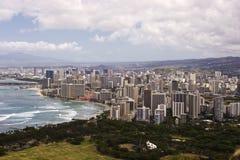 Waikiki céntrico según lo visto encima del Cr de la pista del diamante Foto de archivo libre de regalías