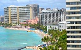 waikiki dell'Hawai della spiaggia Fotografie Stock Libere da Diritti
