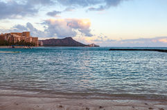Waikiki and Diamondhead. A beautiful scene from the the tropical island of Hawaii, you can see the crater known as diamond head Royalty Free Stock Image