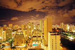 Waikiki Downtown at Night Stock Photos