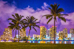 Waikiki Dreaming. Nightscene in Waikiki from Ala Moana Beach Park Royalty Free Stock Photography