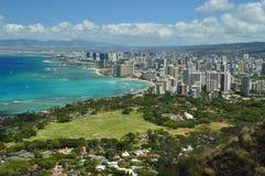 Waikiki gesehen von Diamond Head stockbilder
