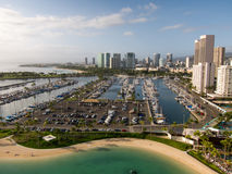 Waikiki Harbor. With Honolulu skyline Stock Photo