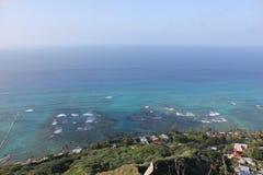 Waikiki, Hawaï, bergen en stranden stock afbeelding